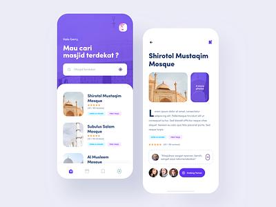 Mosque Finder App mobile finder purple app user experience user interface mobileapp clean design ux ui