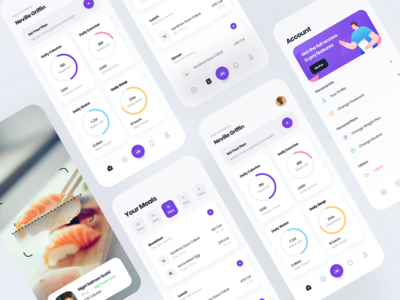 Phoenix - Fitness App mobile ui fitness app illustration user experience user interface mobileapp ux ui app design purple mobile design clean app