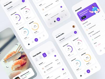 Phoenix - Fitness App mobile ui fitness app illustration user experience user interface mobileapp ux ui app design purple mobile design clean app