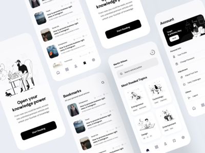 Medium Design Exploration line illustration article design medium black  white 2d illustration illustration mobile app user experience user interface mobileapp clean design ux ui