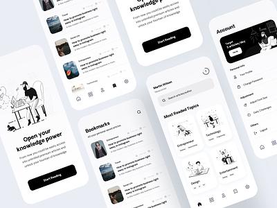 Medium Design Exploration line illustration article design medium black  white 2d illustration illustration mobile app user experience user interface mobileapp clean design ux ui