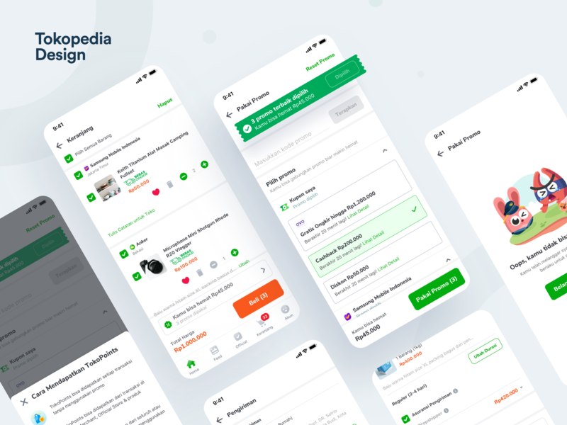 Tokopedia - Promo Backfunnel tokopedia checkout ecommerce promotions promo app user experience user interface mobileapp clean design ux ui