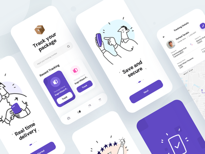 Miber - Delivery & Tracking App illustration 2d illustration clean ui tracking app delivery app purple app iphonex user experience user interface mobileapp clean design ux ui