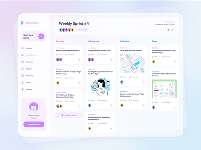 Tasking.io Project Management trello project manager jira project managment dashboard ui dashboard illustration purple user experience user interface clean design ux ui