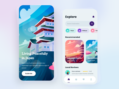 Cepirit - Japan Travel App Exploration 2d illustration travel app travel illustration purple mobile user experience user interface mobileapp design ux ui
