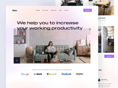 Coworking Space Landing Page Exploration purple modern coworking space landing page landing page design landingpage web design user experience user interface clean design ux ui