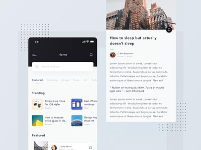 Medium App Exploration newsapp mediumapp clean iphonex design ux ui