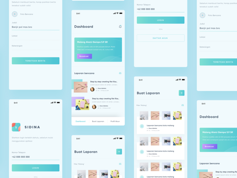 Sidina - Early Disaster Report System disaster green clean design ux ui
