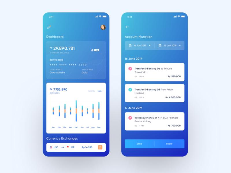 Mobile Banking App banking app blue clean iphonex design ux ui