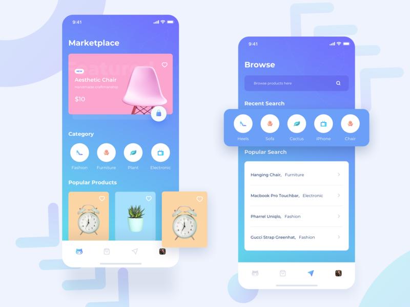Keeper - Marketplace App ecommerce marketplace app shopping app user experience user interface purple blue mobileapp iphonex clean design ux ui