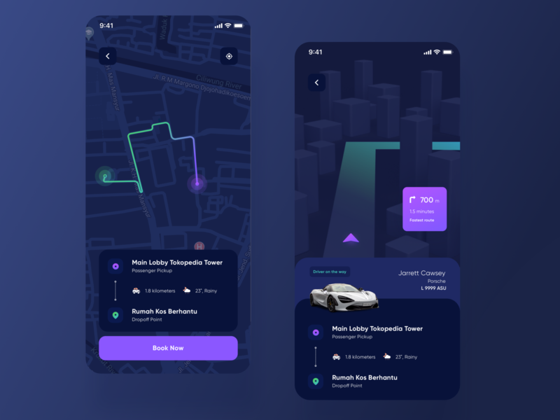 Ride Sharing App grab ride dark theme dark user interface purple iphonex clean design ux ui