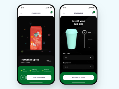 Starbucks App coffee shop starbucks dark user interface mobileapp iphonex clean design ux ui