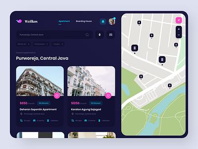 Weilkos - Apartment/Boarding House App clean finder home darkmode web design app dark user experience user interface design ux ui