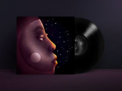 Laura Mvula. Sing To The Moon. Album cover redesign. dribbbleweeklywarmup weeklywarmup purple artwork music design music redesign procreate vinyil stars space moon sing to the moon laura mvula album art album artwork album cover album