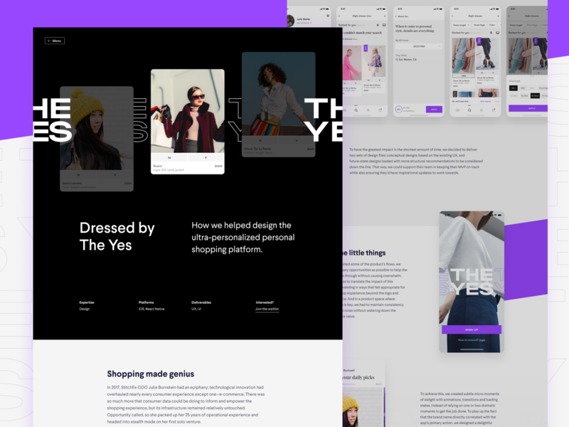 The Yes Case Study app fashion case study the yes website design