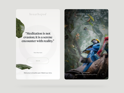 BreathePod - iOS and Tablet android ios tablet meditation app mindfulness breathing breathepod meditation ui