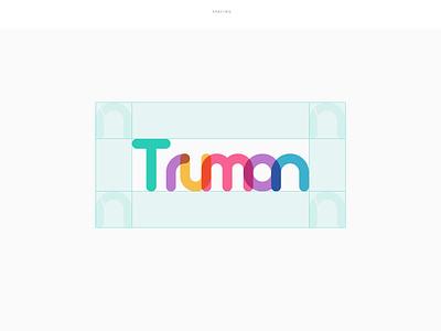 Truman Logo wordmark truman overlap design brand logo