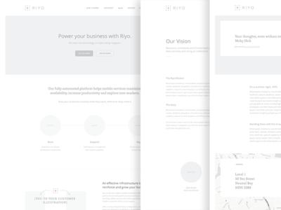 riyo.io user experience layout greyscale ux wireframes