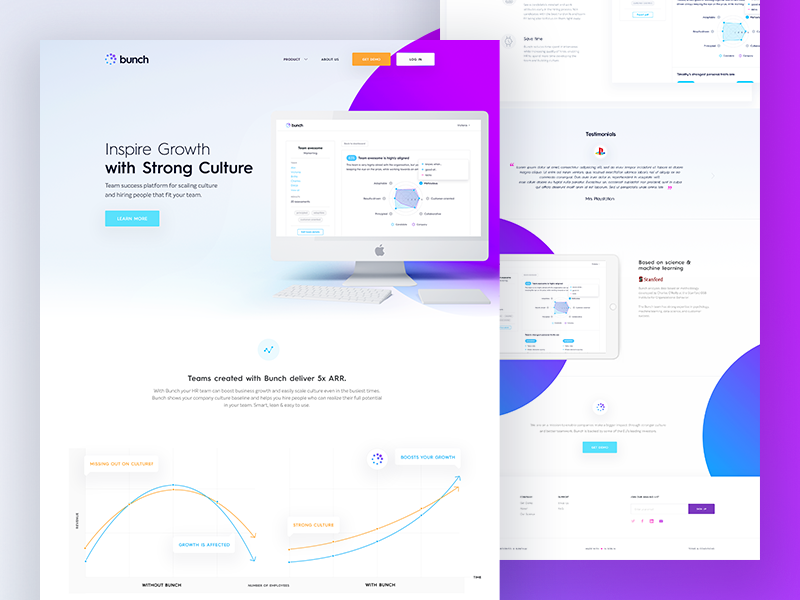 bunch.ai ux ui circles purple startup culture landing website