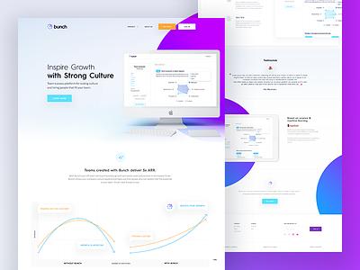 bunch.ai ux ui circles purple startup culture landing website