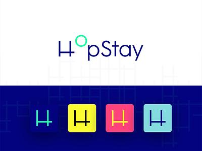 hopstay.co colours blue hop hopstay logo brand