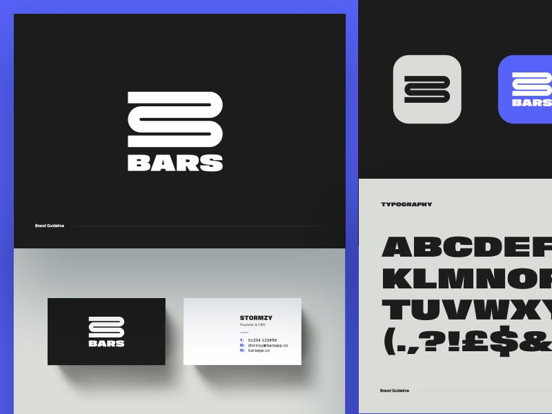 Bars Branding icon typography business cards white black app music bars brand