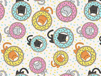 Donut Cat cat butts fun pattern cat kitties cats illustration