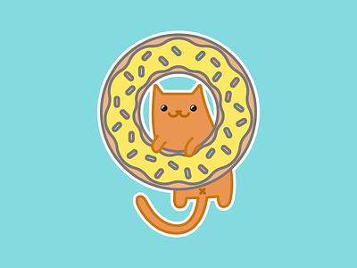 Donut Cat Magnet sprinkles food kitties donut rebound magnet illustration cat
