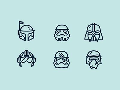 Helmets of Star Wars freebie stormtrooper geek design illustration icon set iconography icon star wars