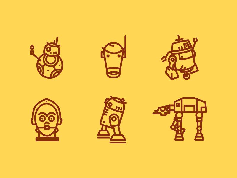 Droid Icon Set freebie r2d2 bb8 geek design illustration icon set iconography icon star wars