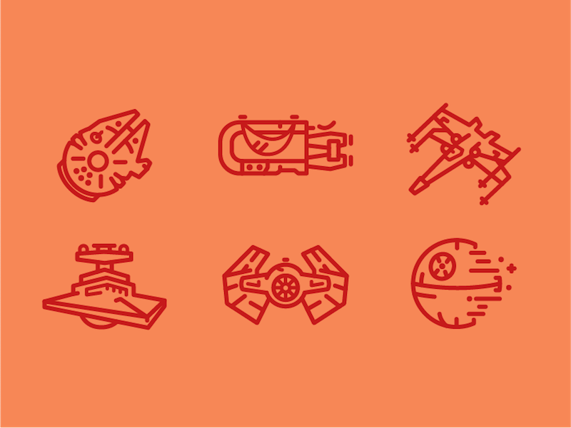 Ships, Speeders, and Space Stations Oh My! star wars death star illustration icon set iconography icon geek freebie design spaceship