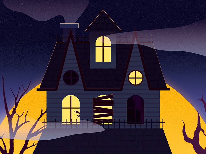 House at the end of the lane fog october illustration house haunted spooky halloween