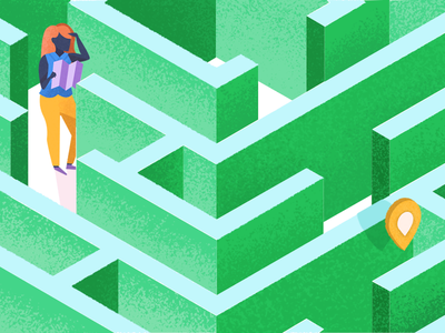 Labyrinth perspective maze blog texture editorial illustration