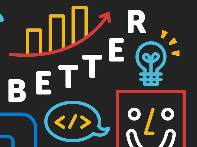 Making the Internet Better chalk robot line art typography illustration mural