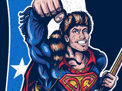 Davy Crockett as Superman dc marvel hero superhero t-shirt design davy crockett superman texas comics konstantin kostenko