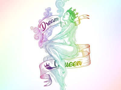 Cannabis Dream Queen naked woman smoke gradient queen cannabis hand drawing konstantin kostenko design