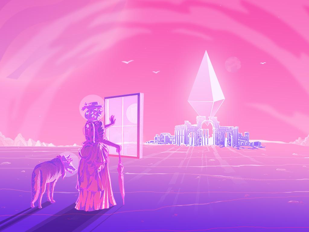 Traveling with Coyote gradient psychedelic abstact art drawing pink neon illustration artist konstantin kostenko design