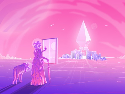 Traveling with Coyote gradient psychedelic abstact art drawing pink neon illustration artist konstantin kostenko design