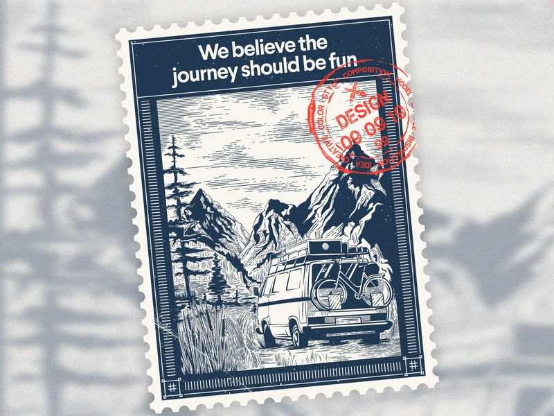 We believe the journey should be fun grunge vintage mountain oldstyle journey etching postage stamp art vector illustration artist konstantin kostenko design