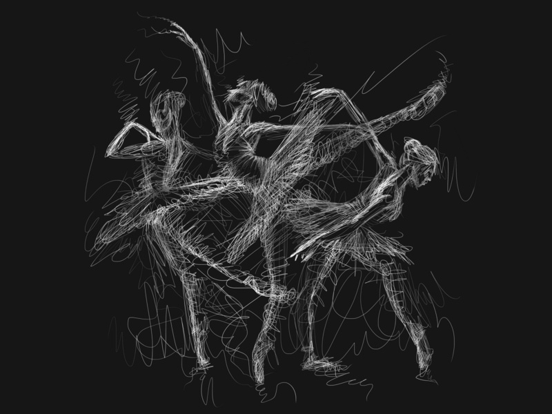 Ballerina haching line art lineart dance music plie dance dancers dancer ballet etching hand drawing dark abstact art illustration artist konstantin kostenko design