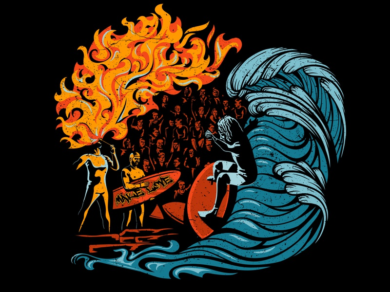 Eisbach River 🏄 dark fireart fire surfing surfers surfer t-shirt art vector illustration artist konstantin kostenko design
