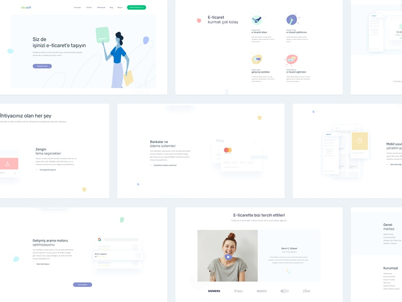 Landing Page: IdeaSoft minimal modern ux homepage interface wireframe new digital ecommerce soft clean testimonial hero section illustration design ui concept web landing page