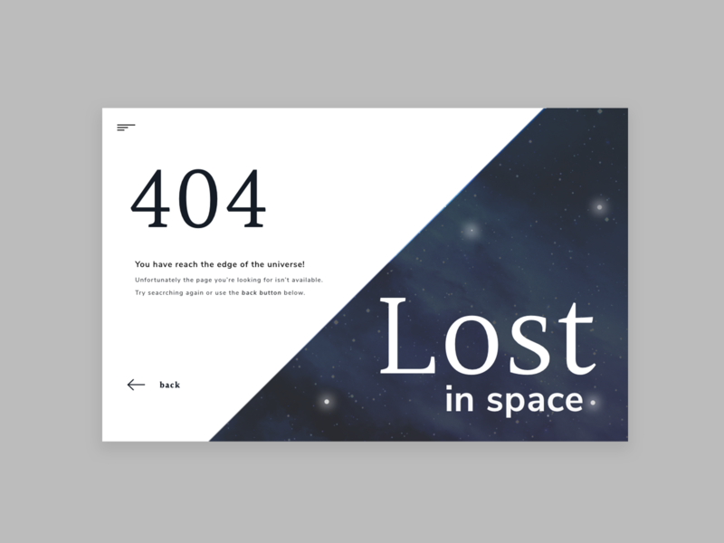 Lost In Space space web 404 404 page 404 error web typography web type user interface ui  ux ui design design ui