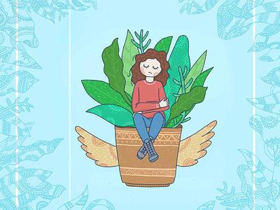 digital doodle 2d illustration detailed illustration girl illustration digital doodle floral doodle floral pattern pattern digital illustration digital painting flat illustration graphic  design digital art illustration