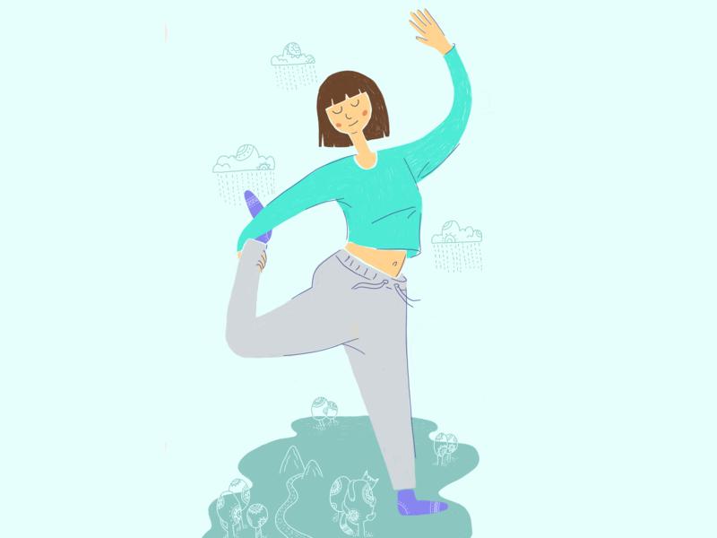 Yoga figure character design character peace digital art digitalart yoga flat illustration graphic illustration design