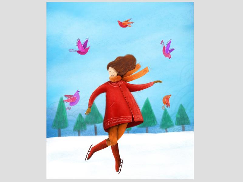 Hello winter! art color winter digital painting digital art flat illustration graphic illustration design