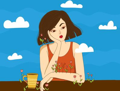 Tea time in my garden :) tea time illustration art 2d illustration digital art graphic  design flat illustration illustration