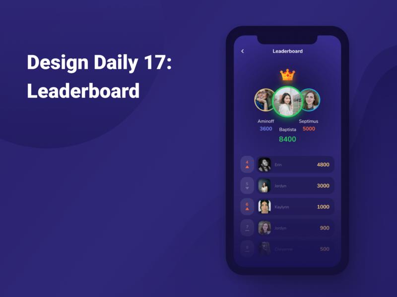 Design Daily 17: Leaderboard design daily design layout design simple design dailyui daily 100 challenge clean ui deisgn