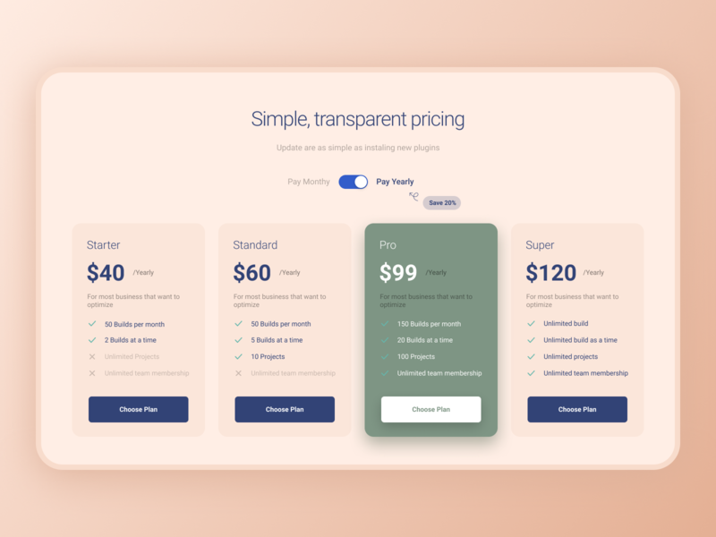 Design Daily 26 - Pricing Page pricing page simple design dailyui daily 100 challenge clean ui deisgn