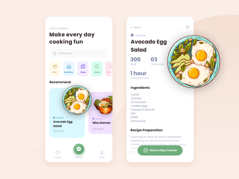 Design Daily 34 - Recipe layout design simple design dailyui daily 100 challenge clean ui deisgn recipe app recipe